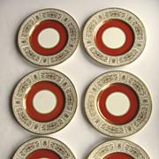 "6 x 1920's Minton Raised Gold Decoration 10 1/2"" Rust"
