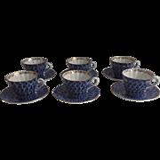 Set of Six (6) Vintage (1990's) Lomonosov Russian Porcelain Cups & Saucers Cobalt & White ...