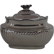 English Silver Luster Covered Sugar Bowl Flower Finial c 1830