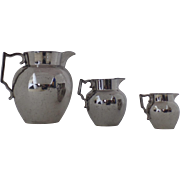 English Silver Luster Group of Three Pitchers c 1820 Graduated