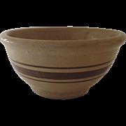Old Yellow Ware Stoneware Brown Stripes Mixing Bowl 19th Century