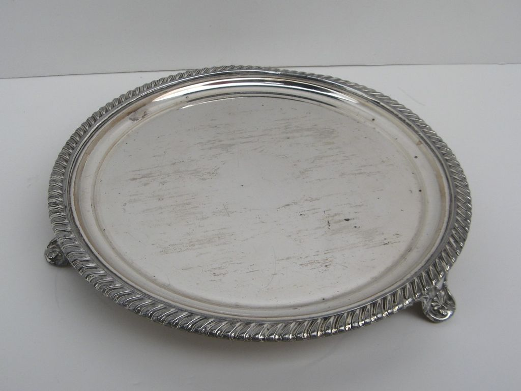 """Early Sheffield Fused Plated Footed 8"""" Salver Gadrooned Edge"""
