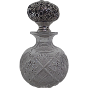 """Sterling James R. Armiger Baltimore Repousse Glass Perfume Bottle 8"""""""
