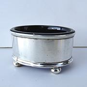 English Sterling Silver Salt with Cobalt Liner c 1920