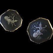 "Large Pair Sterling Handmade Siam Cuff Links 1 1/16"""