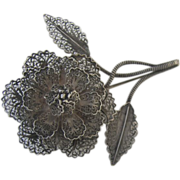 VintagevSilver Filagree Flower Pin Brooch