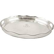 English 20th century Israel Freeman & Son Silver Plated Oval Serving Tray