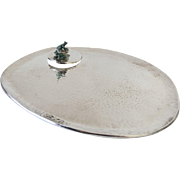 Vintage Silver Plated Tray Planished Hammered Finish Two Frogs by Emilia Castillo Mexico