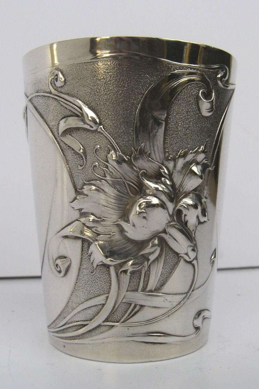 Art Nouveau Silver 800 Cup Engraved