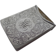 """Stunning Sterling Silver Playing Card Case """"Progressive Euchre"""" 1908"""