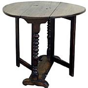 English Oak Gate Leg Table With Barley Twist Legs.
