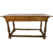European Provincial Pine Turned Leg Table Box Stretchers