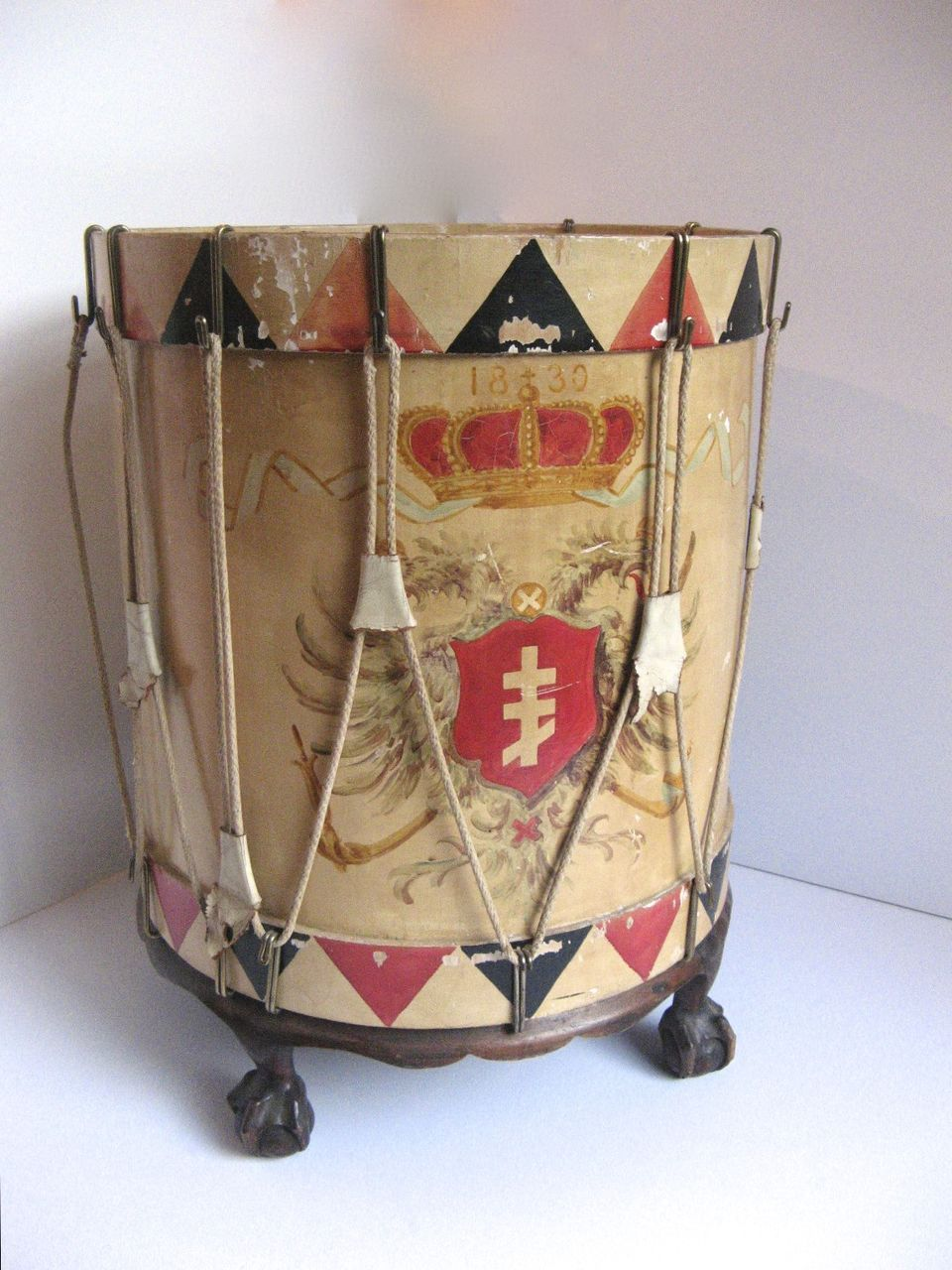 Table Painted to Look Like Regimental Drum