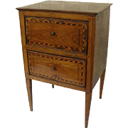 Italian Two Drawer Side Table Square Tapering Legs Inlaid
