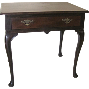 English Walnut One Drawer Side Table Lowboy 19th Century Spanish Pad Foot