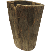 Italian Hand Hewn Hollowed Out Tree Trunk Log Wood Bin
