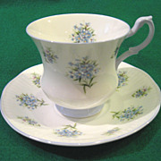 SOLD Royal Dover Fine Bone China, Petite Blue Flowers Teacup and Saucer Set