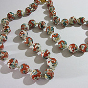 """Vintage Chinese Porcelain Bead Good Luck Dragon Necklace, 24"""""""