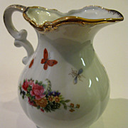 SALE Vintage Hand Painted Royal Crown Gilded Petite Water Pitcher with Garden Flowers