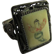 SALE Vintage Chinese Etched Painted Finger Ring, Size 9.5