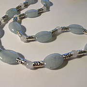 Aquamarine and White Jade Beaded Necklace with Tibetan Silver Spacers, 21""