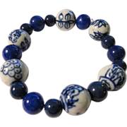 SOLD Blue-and-White Chinese Ceramic and Blue Gemstone Bead Bracelet