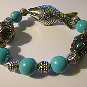 Silver Tone Fish Charm, Handcrafted Tibetan Bead, Faux Turquoise Expandable Bracelet