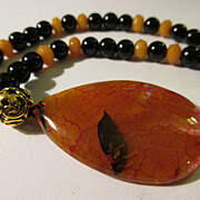 Dragon's Vein Agate Teardrop Pendant with Onyx and Topaz Bead Necklace, 20""