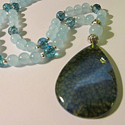 Blue Dragon's Vein Agate Pendant with Blue Chalcedony Bead Necklace, 22""