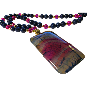 SALE Navy and Fuchsia Dragon Veins Agate Pendant with Lapis Lazuli and Crystal Bead Necklace .