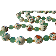 """SALE Chinese White Porcelain Butterfly Beads with Green Jade Bead Necklace,  28"""""""
