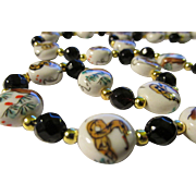 """SALE Chinese Porcelain """"Snake in the Grass"""" Bead Necklace, 27"""""""