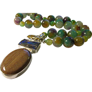 Biwa Pearl-Abalone Shell-Jasper Artisan Pendant with Tri-color Jade-like Bead Necklace, 21""