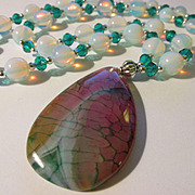 Dragon Vein Agate Pendant with Moonstone Bead Necklace, 28""