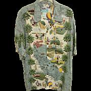 "SOLD ""California Wine"" Aloha Shirt by Reyn Spooner, Size L"