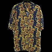 SALE Pineapple Print Hawaiian Aloha Shirt, 100% Rayon