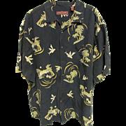 SOLD Tori Richard of Honolulu Silk/Linen Palm Tree Aloha Shirt, Size XL