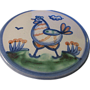 M. A. Hadley Country Chicken Stoneware Trivet Hot Plate Tile