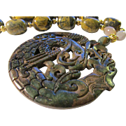 """SALE Mythical Dragon and Phoenix Jade Medallion with Kunzite Bead Necklace, 19"""""""