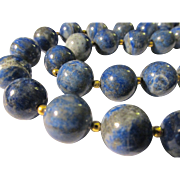 SOLD Deep Blue Lapis Lazuli Beads with Golden Dust Necklace, 19""