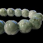 SOLD Carved Jade Peony Blossom Expandable Bracelet