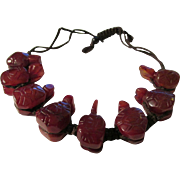 SALE Chinese Carved Agate Turtle Expandable Bracelet