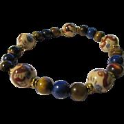 SALE Vintage Chinese Porcelain Dragon Beads with Tiger Eye & Lapis Expandable Bracelet