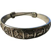 SOLD Chinese Silver Bangle with Animal Zodiac Motif