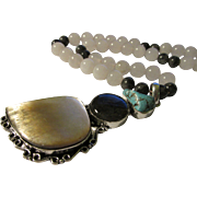 Labradorite-Turquoise-Mother-of-Pearl Shell Artisan Pendant with White Jade Bead Necklace, 20""
