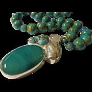 SALE Botswana Agate-Rose Quartz-Turquoise-Freshwater Pearl Pendant with Magnesite Bead Necklac