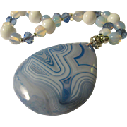 SALE Blue Onyx Agate Teardrop Pendant with Moonstone Bead Necklace, 23""