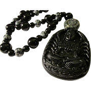 SALE Kwan Yin 1,000 Arms Black Obsidian Pendant with Black Onyx and Snowflake Bead ...