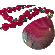 SALE Dragon's Veins Agate Teardrop Pendant with Rose Jade and Crystal Bed Necklace, 24""