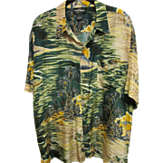 SALE Vintage Aloha Shirt of Palm Trees on the Beach, 100% Silk, Size Large